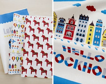 Scandinavian Nordic Swedish Style Dalahorse and Lovely Other Design Panel Fabric, 6 Designs Package