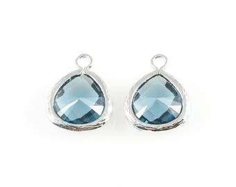 2pcs Montana Blue Faceted Glass Charm in Rhodium, Framed Glass Gem / Birthstone / September / Sapphire / 10.5mm x 14mm / GMBRH-003-P (Small)