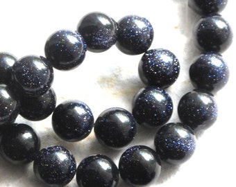 "Blue Goldstone 8mm Round Smooth Beads (one strand) Dark Navy Blue with Copper flecks ""Starry Night"""