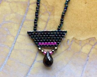Rainbow black seedbead necklace, simple beaded necklace, seedbead choker, brickstitch necklace