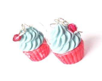 Miniature Cupcake Earrings ( polymer clay cupcakes kawaii jewelry food earrings mini food jewelry blue earrings red cupcake earrings food )