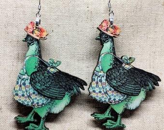 Henrietta Hen Earrings / Chicken Earrings / Handmade Wood Earrings / Handmade Jewelry / Farm Animal Earrings / Laser Cut Earrings