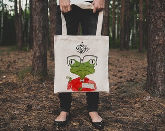 Frog tote bag. Cotton frog and coffee tote bag. It's coffee o'clock market bag