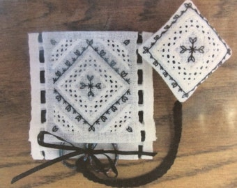 Scissor Fob and Keep Blackwork and Whitework Embroidery - Terri Bay Needlework Desings - Pattern only