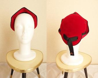 1930s hat/ 30s Red fur felt hat /1940s 40s tilt hat