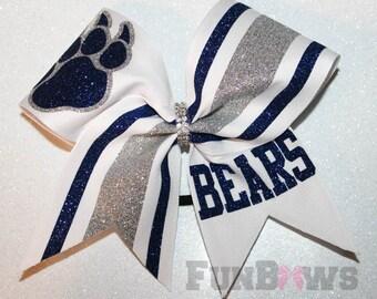 Custom Mascot Cheer School Team Glitter Hairbow  by FunBows !!