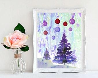 Christmas  Print Watercolor   Pine tree Poster  Print Christmas Decor Christmas Wall Art  Decor  Snow  Christmas Art Printable Downloadable