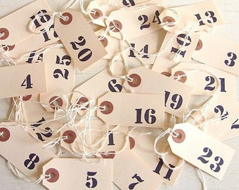 Number Stamped Tags Wedding Table Numbers Rustic Farmhouse Style Numbered Favors Paper Tags 1-25 Classic Christmas Advent Wreath Tags - Read