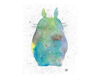 Watercolor Totoro Print