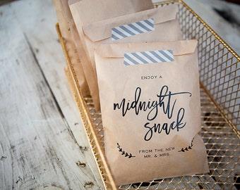 20 Bags // Midnight Snack Craft Paper Bag // Favor Bag // Wedding Favor Bag