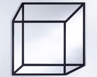 MIROIR DELUSION Modern Rectangulaire Noir 76 x 76 cm