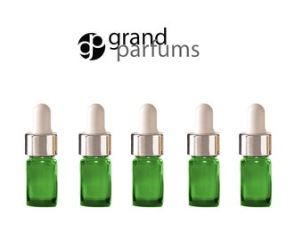 12 Mini 5ml GREEN Essential Oil Glass Dropper Bottles (1/6 Oz) Boston Round w/ Shiny Metallic SILVER Glass Pipettes White Medicine Bulb 5 ml