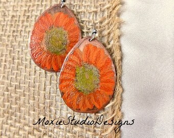 Summer Sunflower Earrings, Copper Earrings,  Sunflower Earrings, rustic  Earrings, Bohemian Earrings, Boho Earrings, Etched Copper Earrings
