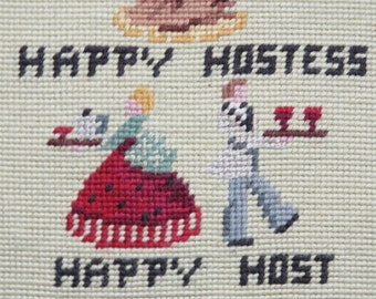 First The Toast Then The Roast/ Needlepoint Wall Hanging/ Hand Made Sign/ Home Decor