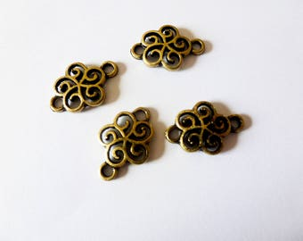 20 * 13mm stylized flower bronze 4 connectors (FOCB01)