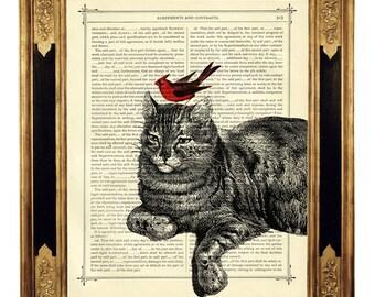 Red Bird and Cat Poster Friendship Friends Nursery Art - Vintage Victorian Book Page Art Print Steampunk