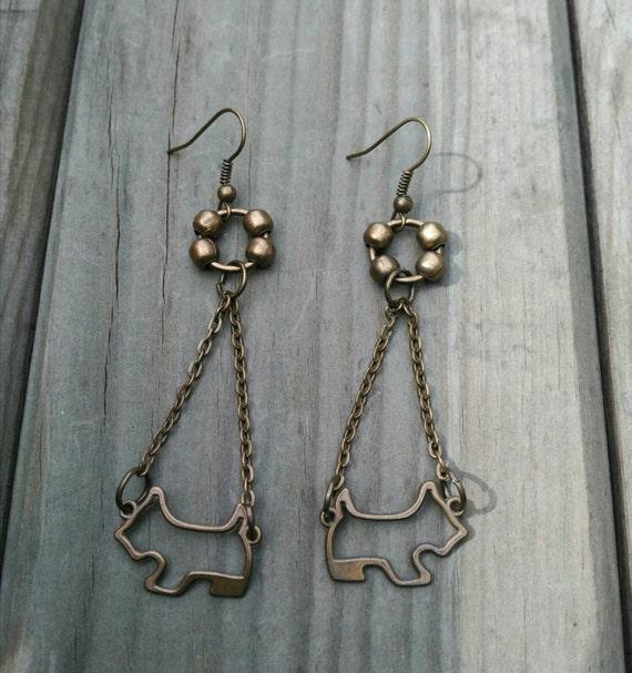 LONG/EARRINGS/SCHNAUZER westie in antique bronze metal