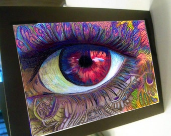 greeting card print of original drawing red eye special zentangle