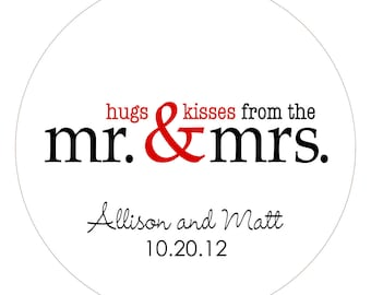 Hugs & Kisses Mr. and Mrs. Personalized Wedding Stickers or Tags