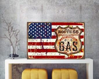 Gas sign, Last chance, Route 66 sign, Route 66 metal art, Route 66 metal sign, Metal sign, USA metal sign, USA flag sign, Last chance Sign