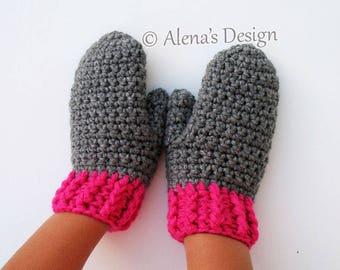 Crochet Pattern 104 - Children's Mittens in four sizes - Toddler Child Big Kid Teens Children Boys Girls Unisex Child Gloves Grey Pink Green