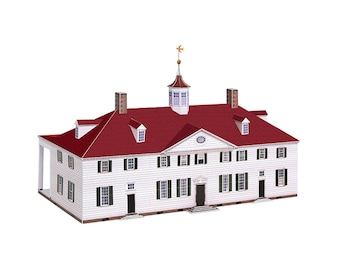 MOUNT VERNON Architecture Paper Model Kit George Washington Virginia Mansion Crafting Kit