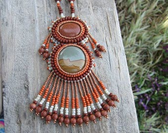 Picture Jasper and Goldstone Bead Embroidered Necklace
