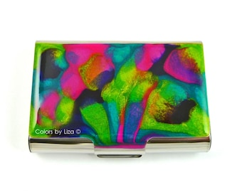 Extra Large Metal Card Case Hand Painted Enamel Carnival Brights Metal Wallet Custom Colors and Personalized Options