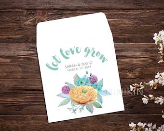 Let Love Grow, Flower Seeds, Boho Wedding, Seed Packet, Seed Packet Favor, Wedding Favor, Seed Packet, Wedding Seed Packet, Seed Favor x 25
