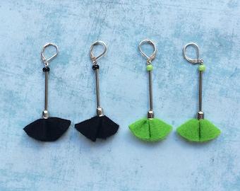 2 Felt flower Earrings -dangle and drop-lime green and black felt -clip on earrings -long earrings