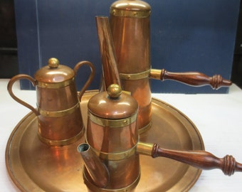 Vintage Mexican Mid Century Copper/Brass Coffee Or Tea Service Set