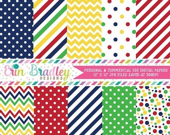 80% OFF SALE Primary Colors Digital Paper Pack, Blue Red Yellow Green Digital Papers with Stripes Polka Dots & Chevron