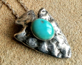 Silver Arrowhead with Morenci turquoise