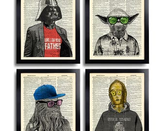 Star Wars Art Print Set Yoda Office Wall Art Set of Prints Dictionary Art Print Set of 4 Prints Cool Man Gift for Boyfriend Movie Poster 540