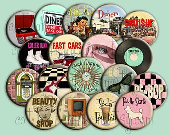 Fabulous Fifties Pin Back Buttons, Mirrors or Magnets for Party favors, Weddings, Showers, Retro Parties, Poodle Skirts Roller Rinks Records