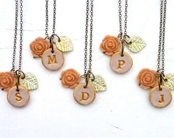 Romantic Bridesmaid Necklace - Vintage Wedding - Rose Garden - Set of 5