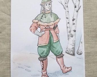 Character Design - Winter Journey - Original Art Watercolor Sketch of Comic Illustration