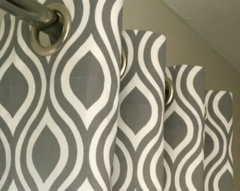 Gray and White Nicole Curtains Grommet Top  63 72 84 90 96 108 120 Long x 25 or 50 Wide