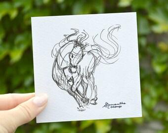 4x4 Print - Gesture Horse Sketch Print