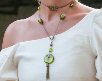 Bronze elven Medieval wedding necklace and green beads