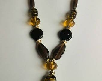 Amber and Black Acrylic Necklace