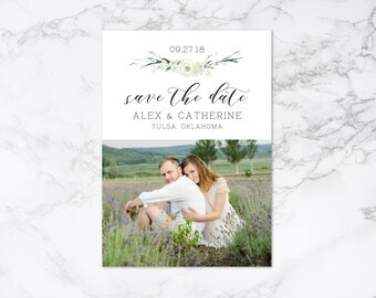 Printable Watercolor Floral Save the Date Photo Card Invitation