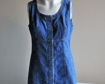 Vintage 1990's Blue Denim Button Down Dress Sleeveless Snap Button 90s Ann Taylor Medium Wash Chambray Skirt Size 8 Small Medium Spring Top