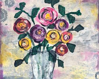 Floral Kaleidoscope - 9x12 and 18x24 Print of Original