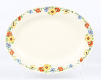 """1940's 30's Edwin M. Knowles China Co. """"Hostes"""" Shape., Red, Yellow, Blue and Green, Happy and Bold Floral Border Platter. EXC-VTG Cond."""