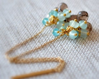 Smoky Quartz Earrings, Gold Chain Threaders, Mint Green Chalcedony, Aqua Apatite Jewelry, Gemstone Clusters, Free Shipping