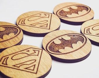 Batman vs Superman Inspired Set of 6 Coasters