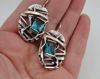 Blue Topaz Long Silver Earrings,  Handmade 9K Yellow Gold Silver Blue Topaz Earrings, Gold topaz earrings, Silver topaz earrings,  (s e1785)