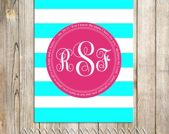 Monogram Print with Bible Verse or Custom Text