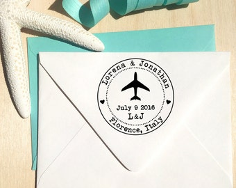 Airplane Stamp, Save the Date stamp, Wedding Invitation stamp, destination wedding stamp